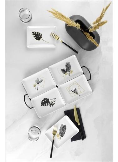 Kütahya Porselen Golden Leaf 6 Parça Kare Kayık Tabağı 18x13 Renkli